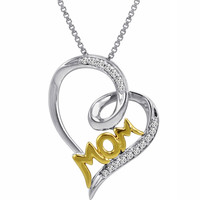 IGI Certified Sterling Silver and 14K Gold Diamond Mom in Heart Pendant (1/10ct tw)
