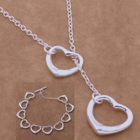 Tangled Hearts Sterling Silver Matching Lariat Necklace and Bracelet Set
