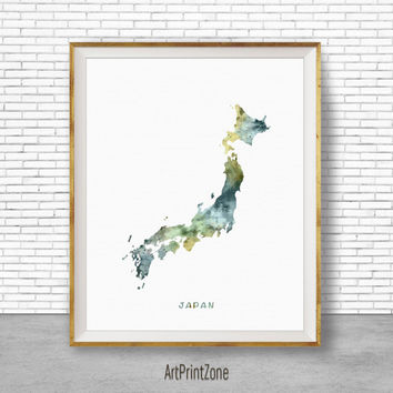 Japan Map Art, Japan Print, Watercolor Map, Map Painting, Map Artwork, Country Art, Office Decorations, Country Map Art Print Zone