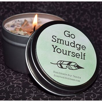 GO SMUDGE YOURSELF Sage Soy Jar Candle, Funny Candle, White Sage Smudge Candle