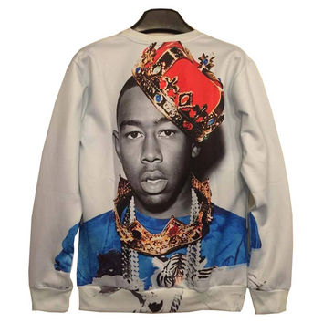 New Autumn Winter fashion Men/Women&'s 3d Sweatshirts Funny print prince Crown 3d hoodies tops