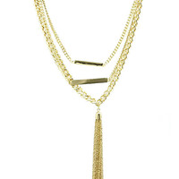 NECKLACE / THREE LAYER / CHAIN TASSEL / METAL ROD / LINK / 16 INCH LONG / 6 1/4 INCH DROP / NICKEL AND LEAD COMPLIANT