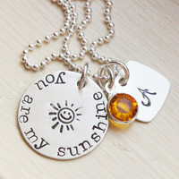 Mommys Necklace Personalized Initial You Are My Sunshine Sterling Silver Birthstone Initial Hand Stamped Custom Jewelry