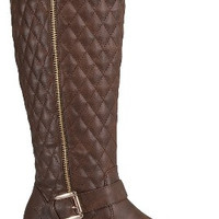 Mango Tall Quilted Riding Boots : Brown