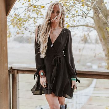 Shape Of You Tie Sleeve Tulip Hem Wrap Dress - Black