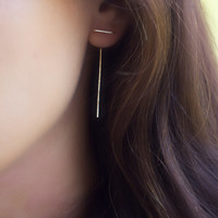 bar earring, spike earring, staple earring, simple earring, modern earring, minimalist, stick earring, linear earring