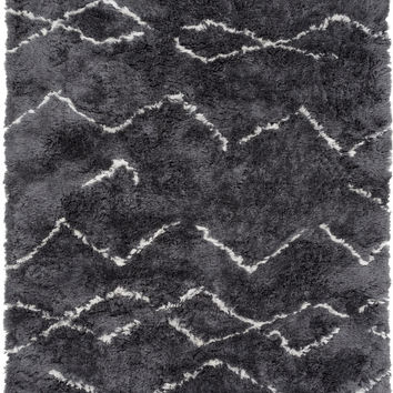 Surya Scout Shag Area Rug Black, Neutral