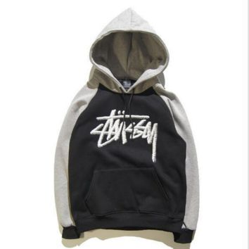 Stussy Letters plus velvet hooded jacket couple casual basketball jacket