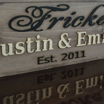 Wooden Sign Personalized CARVED Family Name by michaelswoodworks