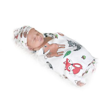 New Baby Infant Blanket Swaddle Wrap Cotton Cartoon Printing Swaddling Bedding Blanket Sleeping Bag Hat Photography Props