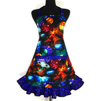 Outer Space Apron , Planets, Galaxies, Sci Fi , Stary Night , Retro Kitchen Ruffle, Astronomy