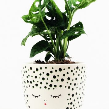 "Ceramic Face Vase in Polka Dot Forest Green - 5.25"" Wide"