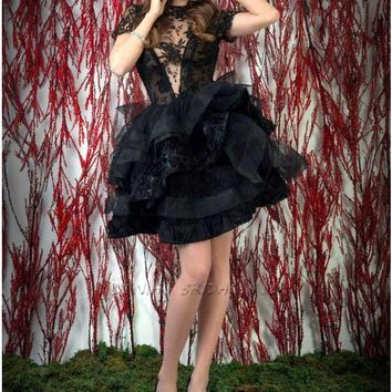 See Through Black Lace Bodice Organza Ball Gown Mini Short Party Prom Dresses