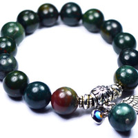 Chunky BLOODSTONE Bracelet with Evil Eye & Angel Wing charms. YOGA and MEDITATION Bracelet. Choose Your Own Charms...