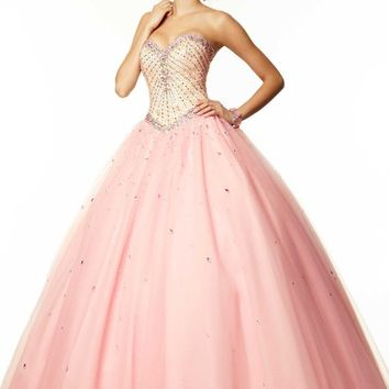 2015 Hot Sale New Attractive Sweetheart Long Ball Gown Prom Floor Length Backless Quinceanera Dress Sleeveless Crystals F1084