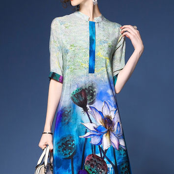 Idelly 2017 Summer Dress Women Casual Dresses Chinese cheongsam Design Digital Painting Ink Lotus Vintage Buttons Silk Dress