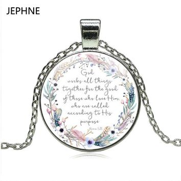 JEPHNE God Works All Things Together for the Good of Those who Love Him  Romans 8 28 Bible Verse Necklace Christian Jewelry Gift