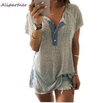 Summer Women Blouses Tops Blusas Loose Casual Button V neck Plus size XXL Solid Blouse Shirts vetement femme Korean style a1