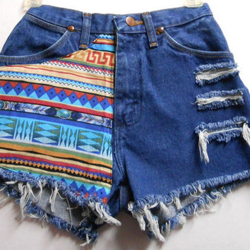 Vintage High Waist  Denim Shorts Tribal Print  Waist  24   inches