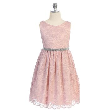 Blush Pink Stretch Floral Lace Dress with Belt Girls Plus 14.5-20.5