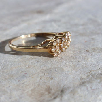 Vintage Ladies Diamond Cluster Ring 10k champagne engagement cocktail dinner right hand yellow gold retro 1980's 1990's size 7 1/4