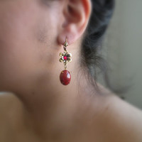 Scarlet Love Earrings - Vinatge Jewelry - Swarovski Jewelry - Thanksgiving Jewelry- Christmas Gift- Tamikaalceedesigns