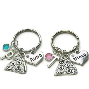 2 Aunt And Niece Keychains, Aunt And Niece Pizza Keychains, Aunt And Niece Keychains, Keychain For Aunt, Keychain For Niece, Personalized