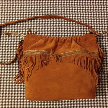 1980's brown suede drawstring purse with fringe by brinkdwellers