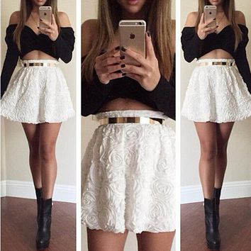 Strapless Summer Dress 2015 White Short Women Dress Vestidos Femininos Black Dress Two Pieces Set Vestidos De Festa Long Sleeve