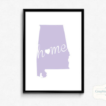 Alabama Home Wall Art Printable Poster - Home - State of Alabama Typography Poster - Digital 8x10 Art Print - Wall Art - INSTANT DOWNLOAD