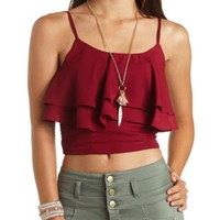 Ruffled Flounce Crop Top by Charlotte Russe - Oxblood