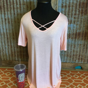 Light pink Plus Size Criss Cross Top