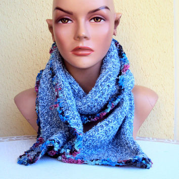 Knit Scarf Cowl Neckwarmer Blue Soft Boucle Spring Fall Winter Women Clothing Fashion Accessories