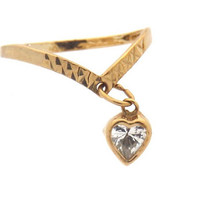 Vintage 9K Heart Wishbone V Ring - Reduced