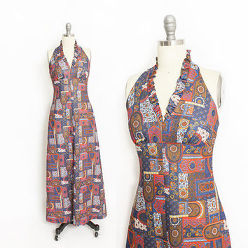 Vintage 1970s Dress - Halter Maxi Printed Ethnic Red Blue Hippie Boho Festival Dress - XS Extra Small