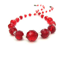 Red Glass Faceted Bead Necklace. Art Deco Czech Choker. Cherry Round & Bicone Crystals, Glittery. 1930s Vintage Fashion Jewelry.