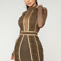 Glamazon Lace Up Dress - Olive