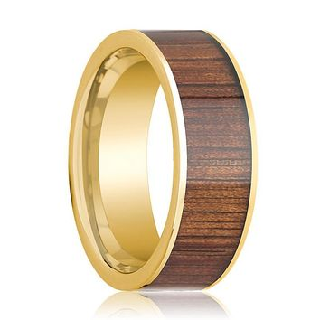 Mens Wedding Ring 14K Pipe Cut Yellow Gold Ring Wedding Band with Rare Koa Wood Inlay and Polished Edges - 8mm
