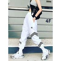 ADIDAS 2018 new women's sports embroidery casual beam pants F-AG-CLWM white