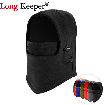 Long Keeper Thermal Fleece Balaclava Hat Hood Ski Bike Wind Stopper Face Mask Men Neck Warmer Winter Fleece Neck Helmet Cap
