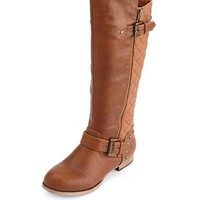Quilted Side-Zip Motorcycle Boot: Charlotte Russe