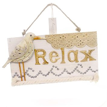Jim Shore SANDPIPER RELAX WALL SIGN Polyresin River's End 4054615