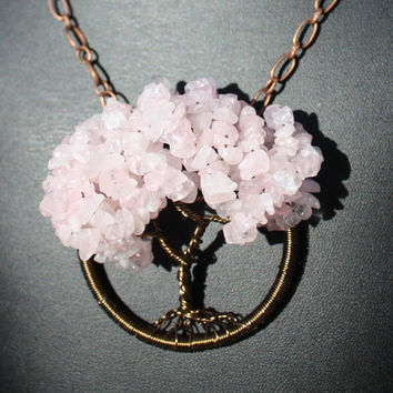 Breast Cancer Awareness Rose Quartz Tree of Life Pendant with FREE SHIPPING and Donation to Breast Cancer Research