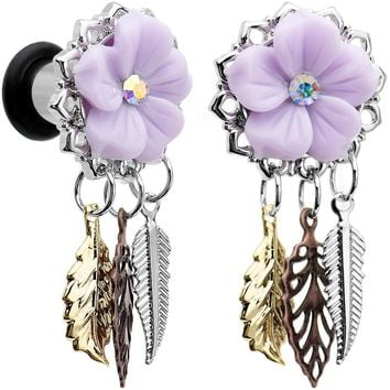 2 Gauge Aurora Gem Purple Petal Flower Leaf Feather Dangle Plug Set