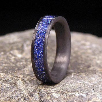 Carbon Fiber Wedding Band or Ring Blue Metallic Dust Inlay