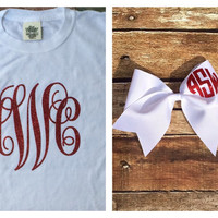 Comfort Colors Monogram T Shirt and Cheer Bow, Monogrammed Gifts, Dance, Cheerleaders, Teens, Girls