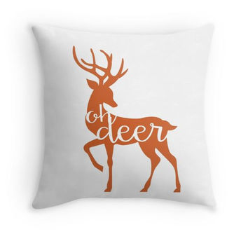 Orange Oh Deer Pillow Cover