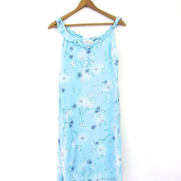 Blue Floral Mini Sun Dress Boho Grunge SunDress Tunic Preppy Slip Dress Rayon Minidress Flirty Summer Bohemian 1990s Revival Small Medium