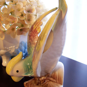 Vintage Mid Century Parrot Wall Pocket Vase Planter 1940s - 1950s Morton Pottery USA