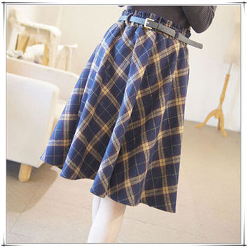 2015 skirt England woolen plaid high waist skirt umbrella skirts Sen female long autumn and winter retro art skirt with belt